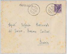 REPUBBLICA - Storia Postale: ANNULLO MUTO EMERGENZA su BUSTA da  GIANICO 1951