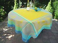 Tischdecke Jacquard 150x150 cm gelb Sonnenblumenmotiv Frankreich, pflegeleicht