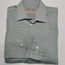 Geoffrey Beene Mens Fitted Wrinkle Free Cotton Blend Dress Shirt Gry 16.5 Pocket