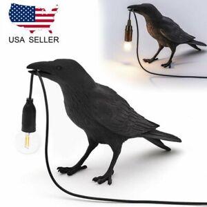 Resin Bird Table Lamps Crow LED Home Desk Light Bedroom Fixture US Plug Black