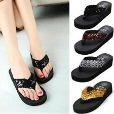 Summer Women Sequins Flip Flops Beach Sandals Sparkling Wedge Platform Slippers