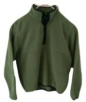 LL Bean Fleece Polartec Pullover Large Snaps Green Regular Pockets
