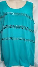 Autograph Blue Aqua lagoon lined layered hilo tunic top size 18 stud details NEW