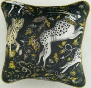 Emma Shipley  PROTEA CHARCOAL VELVET cushion PROFESSIONALLY HANDMADE, 41cm