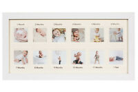 """First Year Newborn Baby Collage Keepsake Picture Frame with Twelve 2x2"""" Slots"""