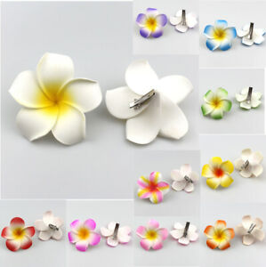 10Pcs Hawaiian Foam Plumeria Flowers Hair Clip Hair Accessory-2.3""