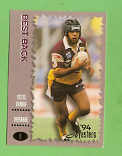1994 MASTERS RUGBY LEAGUE CARD #8  STEVE RENOUF, BRISBANE BRONCOS