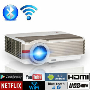Full HD 1080P Smart BT Projector Android Airplay Youtube Netflix Movie Time HDMI