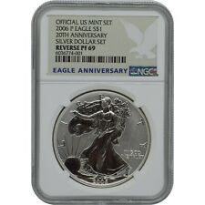 2006 P 20th Anniversary Reverse Proof Silver Eagle one Dollar Coin Ngc Pf69