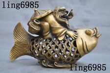Collect Old Chinese bronze fengshui fish Fisherman statue Incense burner Censer
