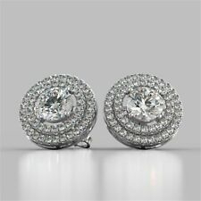 Pave 2.30 Carats Natural Diamonds Halo Stud Earrings In Hallmark 14K White Gold