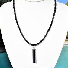 "Black Tourmaline Necklace + Pendant Adjustable 17"" - 19.5"" 925 Silver 4.3mm"