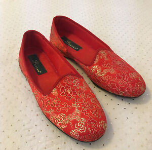 Daniel Green Slippers Red With Gold Brocade 7.5/W Hardly Worn!! EUC