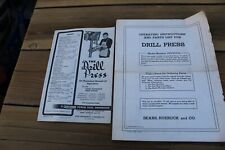 CRAFTSMAN DRILL PRESS MANUAL OF OPERATION - 2 DIFF CIRCA 1950
