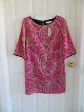 NWT - Loft Petite elbow length sleeve dress - 4P - pink and beige