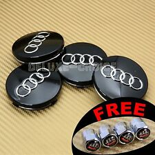 4 Black Car Alloy Wheel Center Hub Cap Emblem Badge 60mm for AUDI US USA SELLER