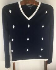 Burberry Golf Scotland 100% Cashmere Argyle Navy Blue Creamy White Sweater M