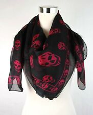 Alexander McQueen Black Chiffon Silk Scarf w/Purple Pink Skull Print 110640 1071