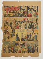 MOUNTED vintage 1936 Terry and the Pirates newspaper comic page by Milton Caniff