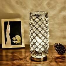 Modern Table Lamp crystal Bedside Desk Light Home Shade Lighting Chrome Bedroom