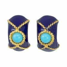KJL Kenneth Jay Lane Gold Domed Clip On Earrings, Blue and Turquoise Enamel