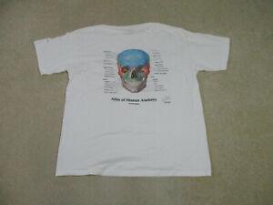 VINTAGE Skull Anatomy Shirt Adult Extra Large White Doctor Diagram Mens 90s *