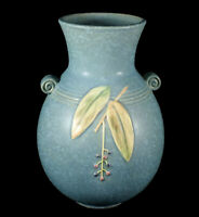 "FINE LARGE VINTAGE BLUE WELLER CORNISH OHIO ART POTTERY VASE 8 7/8"" TALL"