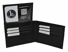 Men's Genuine Leather Bifold RFID Protection Wallet Slim Compact with Flap