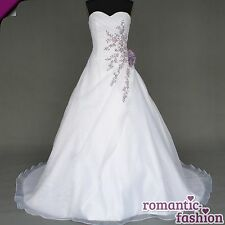♥ nuevo: tamaño 34-54 vestido de novia, vestido de bodas en blanco y lila + nuevo + inmediatamente +w020 ♥