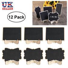 12X Mini Wooden Message Blackboard Note Sign Memo Chalkboard Clip Stand Holder