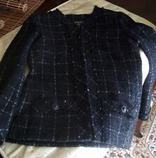 2016 Chanel  Tweed Jacket Front Zipper Long Sleeves Tweed Black Jacket Size 38