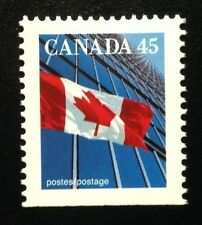 Canada #1361xivs Bottom PP 13.6x13.1 MNH, Flag Over Building Booklet Stamp 1996