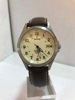 Pulsar By Seiko Men's Kinetic Analogue Date Display Leather Strap Watch-PAR167X1