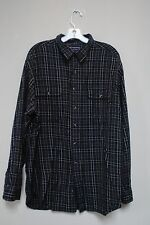 Mens size XL winter navy plaid shirt size XL button down front pockets Roundtree