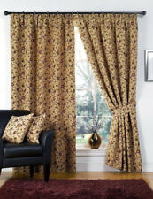 Victoria Tapestry Floral Ready Made Fully Lined Tape Curtains Beige 90 54