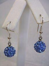 LIGHT SAPPHIRE BLUE CRYSTAL BALL EARRINGS IN STERLING SILVER