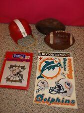 Vintage Football Helmet,Footballs,Miami Dolphins Shower Curtain,Window Clings