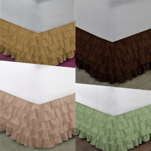 "1 SOLID BEDDING DRESSING BED RUFFLED SKIRT MULTILAYERED PLATFORM 20"" INCH DROP"