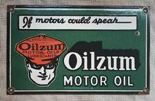 "Vintage Oilzum Motor Oils Lubricants Porcelain Enamel Sign 16""x10"""