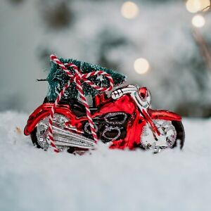 Coming Home For Christmas Red Motor Bike & Tree Glass Bauble Decoration