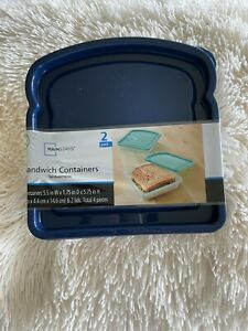 Mainstays Sandwich Containers-2 Pack   Navy