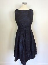 ATMOSPHERE DARK BLUE EMBOSSED FLORAL PRINT  DRESS SIZE 10