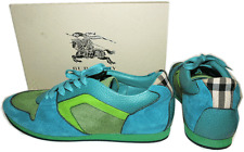 $595 Burberry Leather Sneaker The Field Sneaker In Turquoise Flat Shoe 40- 9.5