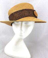 BIGALLI Tan Straw Woven Button Rope Net Trim Sun Panama Ranch Hat New