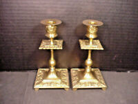 """Vintage Brass Candlesticks Holders Square Ornate Faces Leaves Pair 6.25"""""""