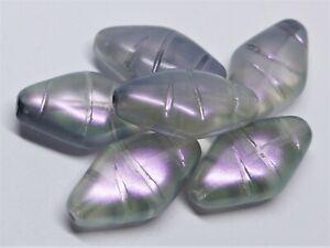 18(mm) PURPLE COATE CRYSTAL CZECH GLASS BICONE/OBLONG BEADS - 8PCS - W081