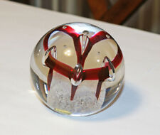 Marked Round Crystal Hand Made Paperweight Jablonski Poland Etched Signature