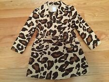 NWOT GYMBOREE Ready, Dress, Go! Girls Leopard Animal Print Trench Coat SZ 3/4