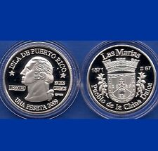 Silver PESETA LAS MARIAS  2009 Puerto Rico Boricua Quarter 1/100 Plata