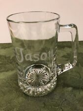 "Large Engraved ""Jason"" Heavy Clear Glass 24 Ounce Beer Stein Mug Never Used"